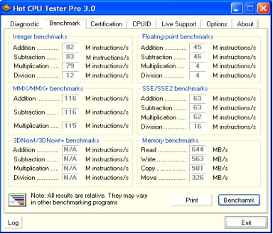 Hot CPU Tester - Benchmark Tab